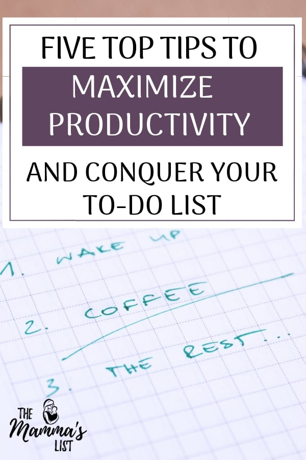 Five steps to maximize your productivity, hit your goals and become more efficient. I really hate feeling like I didn't get anything done all week, so putting a system in place is critical to being more productive and hitting your goals on time. Here are the top tips I found to conquer the never ending to do list.