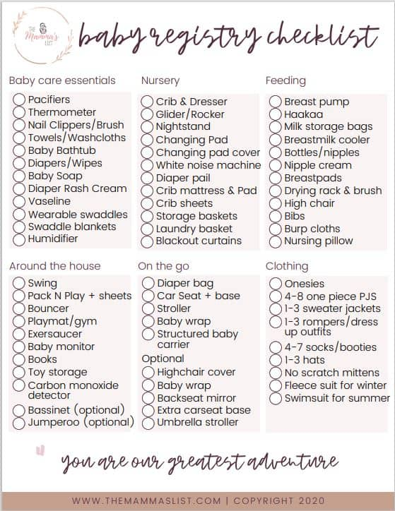 The Complete Newborn Baby Checklist Printable Shopping List 2021