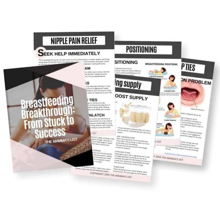 breastfeeding breakthrough tips ebook worksheet mockup