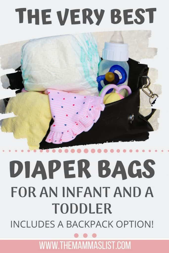 Finding the right diaper bag isn't always easy. Especially if you're looking for a diaper bag that works for an infant and a toddler. Check out the best diaper bags I found for infants, for toddlers, and for two kids! One of them is a diaper bag backpack that's awesome for travel and for being on the go hands free.