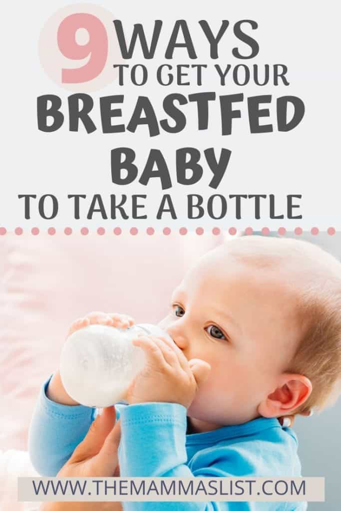 You probably know how hard it can be to get a breastfed baby to take a bottle. We were so worried when our daughter refused bottles and I was panicking because I had to return to work. Find out the nine tips we used to get our breastfed baby to take a bottle, when she wanted nothing to do with them. You CAN get your breastfed baby to take a bottle, it might just take a little patience and creativity.