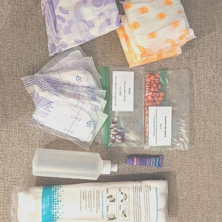 Postpartum recovery kit for new moms