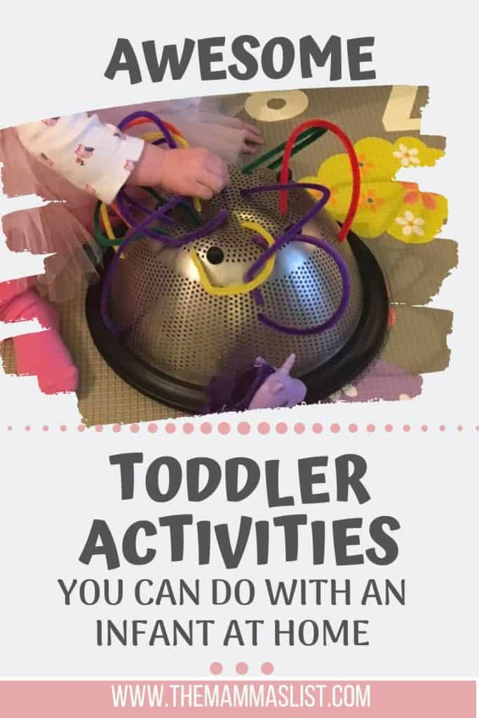 When you have a baby and a toddler at home you're probably looking for any activities that will keep your toddler occupied. Whether you're nursing or just trying to get things done at the house, these awesome toddler activities will help you with hours of fun for your little one!